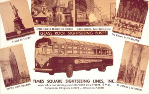 1950s Times Square NYC Glass Roof Sightseeing Bus Multi-View NOS New York Unused