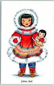 Vintage ESKIMO DOLL Postcard Toy Costume Dress Tichnor Chrome c1960s Unused