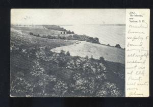 YANKTON SOUTH DAKOTA THE MISSOURI RIVER LETCHER S.D. VINTAGE POSTCARD 1906