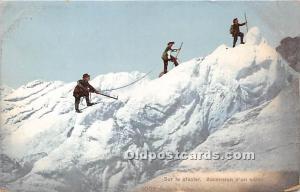 Sur Le Glacier Mountain Climbing Unused very small paper chip right bottom co...