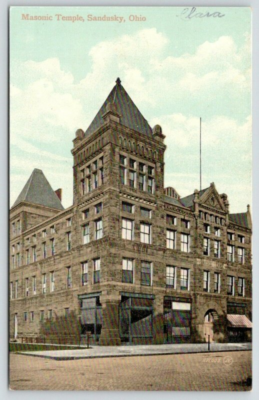 Sandusky Ohio~Corner Tower on the Masonic Temple~Brick Street~c1910 Postcard