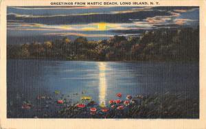 Long Island New York Mastic Beach Linen Antique Postcard K30855