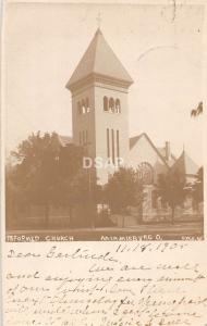 Ohio Postcard Real Photo RPPC 1906 MIAMISBURG Reformed Church Building