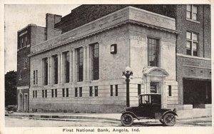LP77 Angola Indiana Postcard First National Bank