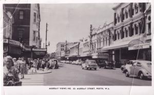 Murray Street Perth Australia Shops Real Photo Old Postcard