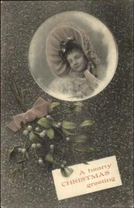 Art Nouveau Christmas- Little Girl Large Hat in Bubble c1910 Postcard