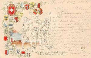 Switzerland Helvetia Flags Coat of Arms Wir wollen sein ein... Embossed 1900