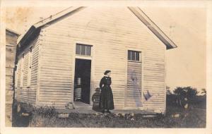 Salem Iowa~Willie at Salem School House~Pot Belly Stove~Picnic Basket~1909 RPPC