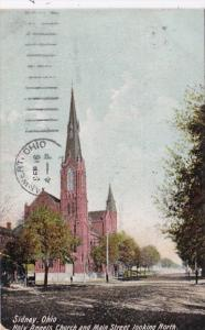 Ohio Sidney Holy Angels Church and Main Street Looking North 1908