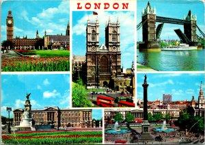 London UK Bridge Big Ben Postcard used (25989)