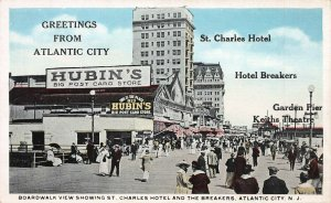 Boardwalk and St.  Charles Hotel, Atlantic City, N.J., Early Postcard, Unused