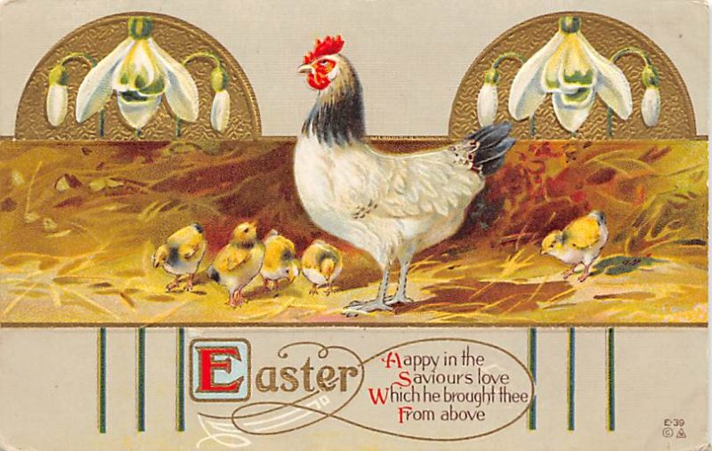 Holiday Easter Post Card Old Vintage Antique 1917