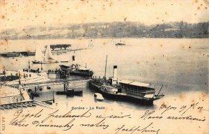 Switzerland Geneve La Rade Boats Panorama Postcard