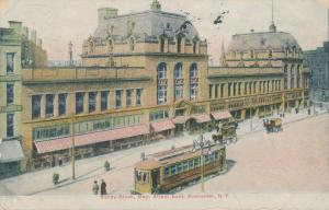 Trolley at Sibley Block on Main Street East - Rochester, New York - pm 1908 - DB