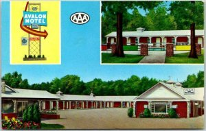 Poplar Bluff, Missouri Postcard AVALON MOTEL Hwy 60 / 67 Roadside Chrome 1950s