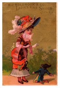 Trade card  New York  Utica H.J.Holbrook Co. ladies fine Shoes ,  Victorian ...