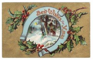 Christmas Horseshoe Woodland Scene Stag Deer Gold Moire Embossed Vntg Postcard