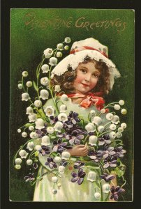 Vintage Valentine Greetings Made in Germany Embossed Color Postcard