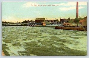 South Bend Indiana~Saint Joe River Dam~Bridges~Factory Smokestack~c1910 Postcard