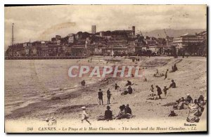 Postcard Old Cannes Beach and Mount Knight