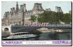Paris Old Postcard the deck & # 39Arcole and & # City 39hotel