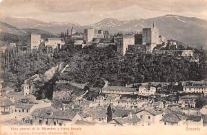 Spain Old Vintage Antique Post Card Vista general de la Alhambra y Sierra Nev...