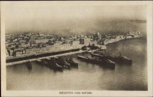 Siracusa Italy Naval Ships in Harbor c1920 Real Photo Postcard rpx