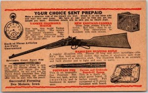 Vintage SUCCESSFUL FARMING Magazine Advertising Postcard Sales Prize Order Form