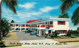 Autos Miami Florida South Winds Motor Hotel 1950s Postcard Colorpicture 20-7084