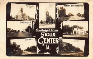 SIOUX CENTER, IOWA GREETINGS FROM SIOUX CENTER-1913 RPPC REAL PHOTO POSTCARD
