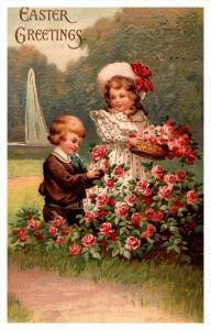 Easter victorian children, sailboat, roses