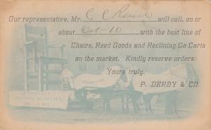 BOSTON , Massachusetts , PU-1907; Horse drawn Wagon w/ Giant Chair ; P Derby Co