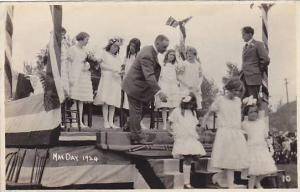 RP; Girls wearing white dresses on stage, May Day 1924, British Columbia, Can...