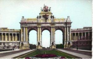 Parc Cinquantenaire Triumphal Arch Brussels Belgium a hand colored real photo