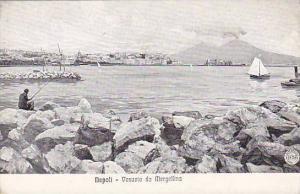 Man Fishing, Sailboat, Vesuvio Da Mergellina, Napoli (Campania), Italy, 1900-...