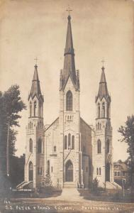 Petersburg IA~1st Consecrated Catholic Church~SS Peter & Paul~Spires~RPPC c1910