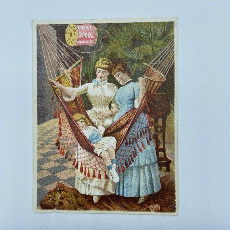 Eureka Silk Spoon Women Girl Hammock Tiger Rug Trade Card