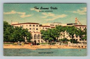 Biloxi MS-Mississippi, Buena Vista Hotel on the Gulf, Advertising Linen Postcard