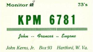 Vintage QSL Postcard  KPM 6781  Hartford, West Virginia John frances Kerns  -T-