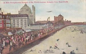 New Jersey Atlantic Beach Mile Straightaway Stretch Of The Boardwalk 1909