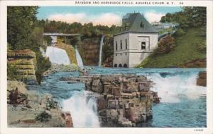 New York Ausable Chasm Rainbow and Horseshoe Falls Curteich