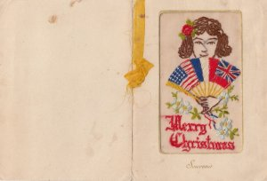 Embroidered 1914-18 ; Merry Christmas , Flags & Girl