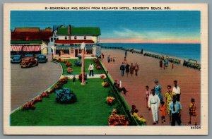 Postcard Rehoboth Beach DE c1950 Boardwalk and Beach from Belhaven Hotel