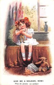 Teddy Bear Post Card Give me a Soldier Now, AA Nash, Eleven O Four Series No ...