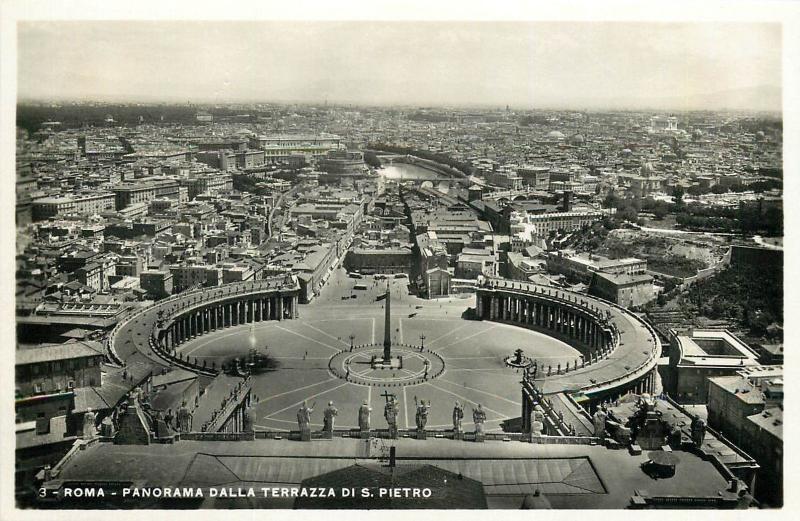 Italy 1930s Real Photo Postcard Roma Rome Panorama Dalla