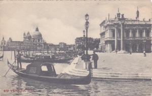 Venezia, Gandolas docked along curb, Veneto, Italy, 00-10s