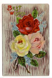 Three Coloured Roses, Best Wishes, AA, Flag Cancel, Amesbury