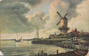 Art Stengel damaged postcard Wind Mill at the Water - Jacob van Ruisdael