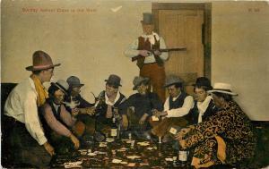 1907-15 Print Postcard Western Sunday School Class Cowboys Booze Smoking Cards