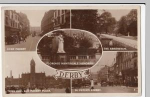 Derby; Multiview RP PPC, Unposted, c 1920's, Shows St Peter's St W/ Traffic Cop